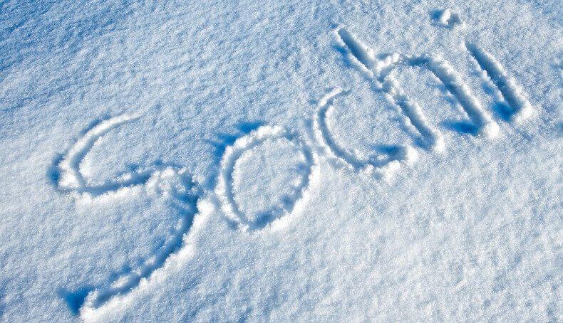 На снегу написали Сочи
