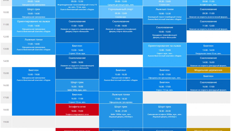 Спортивная программа III зимних Всемирных военных игр 2017