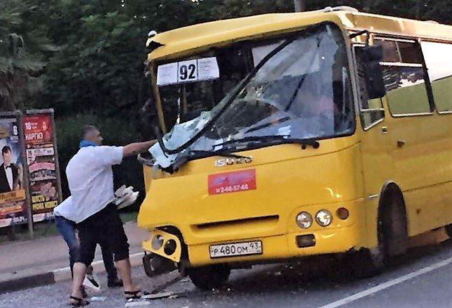 На остановке Стерео в сторону Адлера столкнулись два автобуса