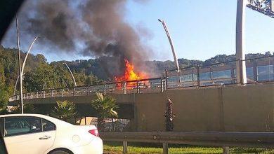 В результате ДТП на дублёре сгорел автомобиль
