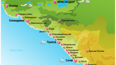 Курорты Краснодарского края на карте